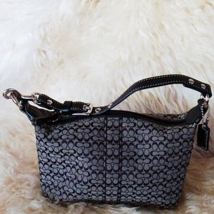 Coach Black & Grey Signature Mini Bag NWOT